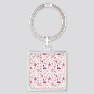 Pink Flamingos and dots pattern Keychains
