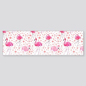 Pink Flamingos and dots pattern Bumper Sticker