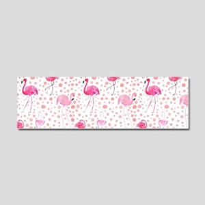 Pink Flamingos and dots pattern Car Magnet 10 x 3