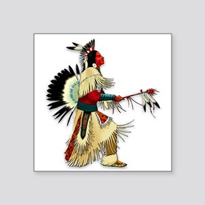 "Native American Warrior #5 Square Sticker 3"" x 3"""