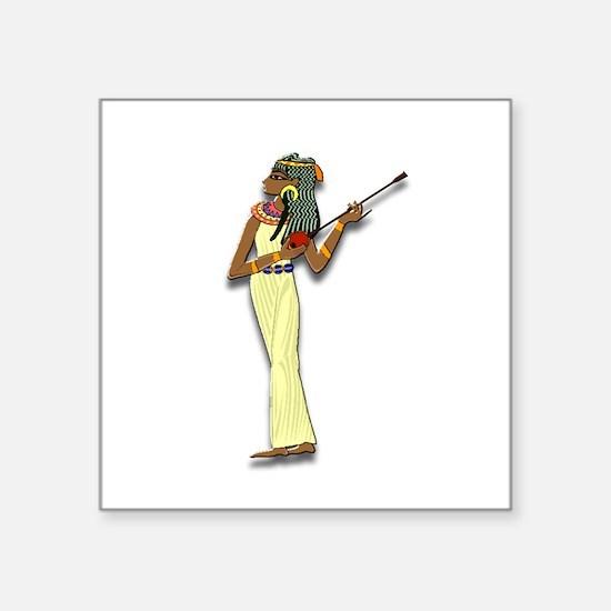 "Egyptian Woman Musician Square Sticker 3"" x 3"""