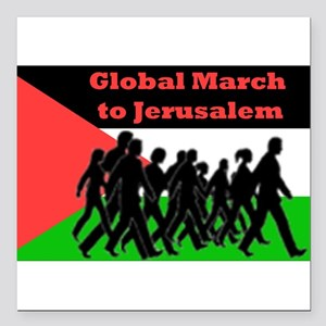"Global March to Jerusalem Square Car Magnet 3"" x 3"