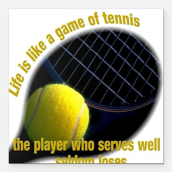 """Cute Tennis Square Car Magnet 3"""" x 3"""""""