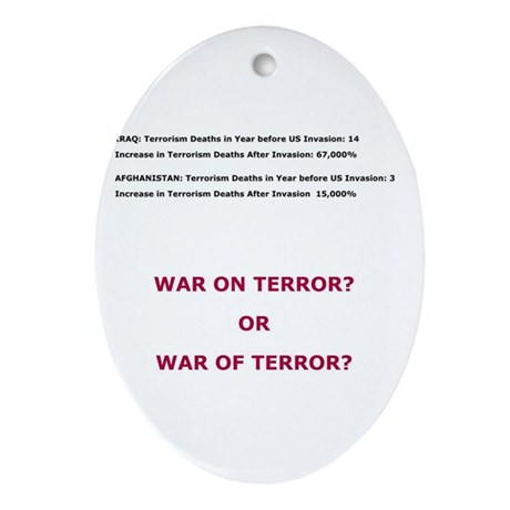 War on Terror or War of Terror? Ornament (Oval)