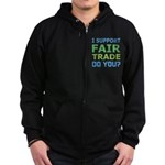 I Support Fair Trade Zip Hoodie (dark)