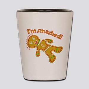 Funny Smashed Gingerbread Christmas Shot Glass