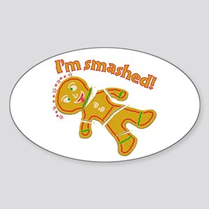 Funny Smashed Gingerbread Christmas Sticker (Oval)