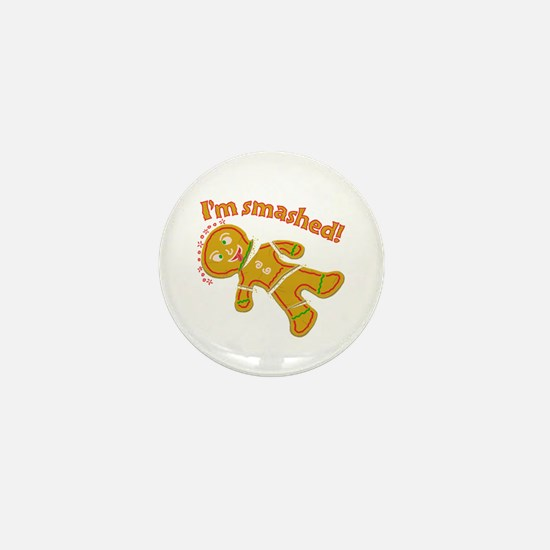 Funny Smashed Gingerbread Christmas Mini Button