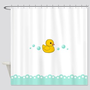 Cute Rubber Duck Kids Shower Curtain