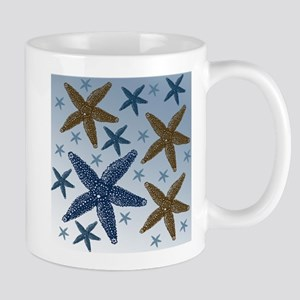 Gold and Blue Starfish Mug