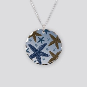 Gold and Blue Starfish Necklace Circle Charm