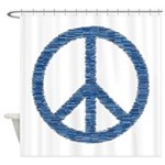 Blue Peace Sign Shower Curtain