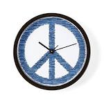 Blue Peace Sign Wall Clock