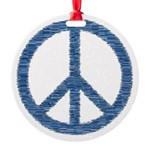 Blue Peace Sign Round Ornament