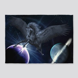 Black Pegasus 5'x7'Area Rug
