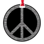 White Peace Sign Round Ornament