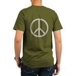 White Peace Sign Organic Men's T-Shirt (dark)