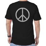 White Peace Sign Men's Fitted T-Shirt (dark)