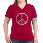 White Peace Sign Women's V-Neck Dark T-Shirt