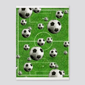 Soccer-Balls-Over-A-Field 5'x7'Area Rug