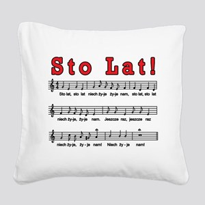 Sto Lat! Song Square Canvas Pillow