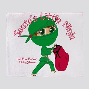 Santas Little Ninja Throw Blanket
