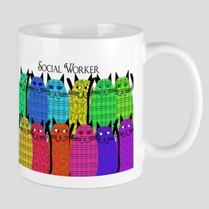 social worker cats horizi blanket Mug