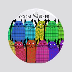 social worker cats horizi blanket Ornament (Ro