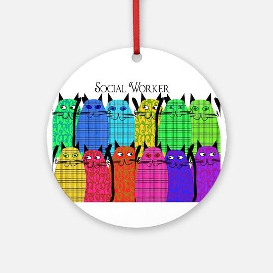 social worker cats horizi blanket.PNG Ornament (Ro