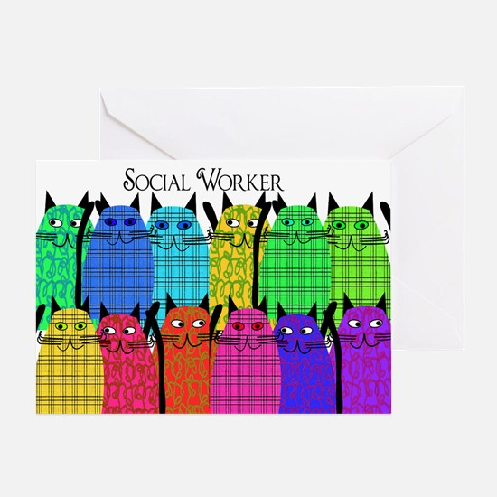social worker cats horizi blanket.PNG Greeting Car
