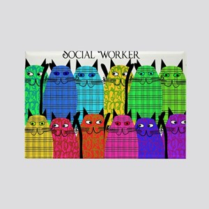 social worker cats horizi blanket Rectangle Ma