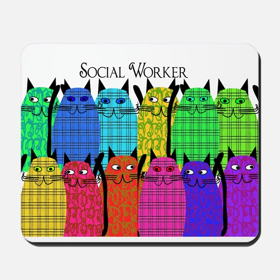 social worker cats horizi blanket.PNG Mousepad