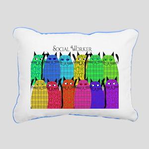 social worker cats horizi blanket Rectangular