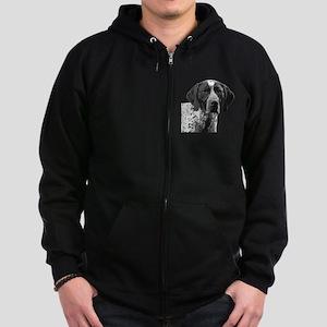 German Shorthaired Pointer Zip Hoodie (dark)