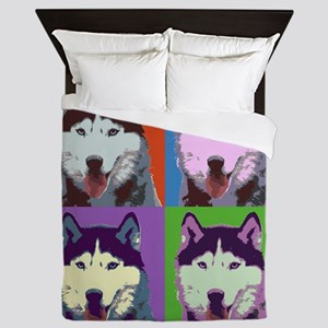 Husky Pop Art Queen Duvet