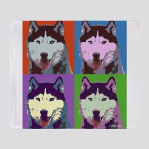 Husky Pop Art Throw Blanket