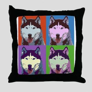 Husky Pop Art Throw Pillow