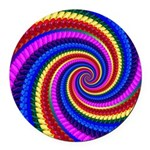 Psychedelic Rainbow Round Car Magnet
