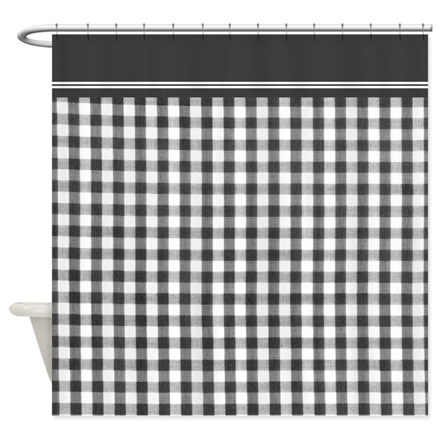 Black and white Gingham shower curtain by InspirationzStore