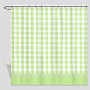 Green gingham shower curtain