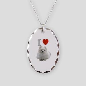 White Pomeranian Necklace Oval Charm