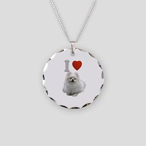 White Pomeranian Necklace Circle Charm
