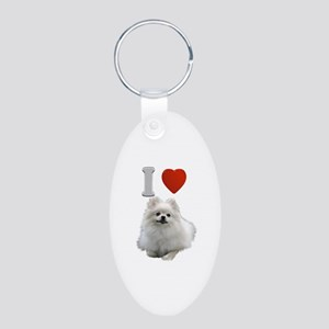 White Pomeranian Aluminum Oval Keychain