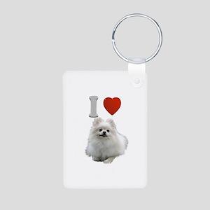 White Pomeranian Aluminum Photo Keychain