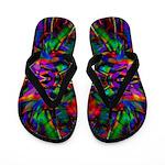 Rainbow Mandala Fractal Art Pattern Flip Flops