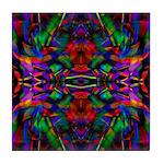 Rainbow Mandala Pattern Tile Coaster