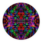 Rainbow Mandala Pattern Round Car Magnet