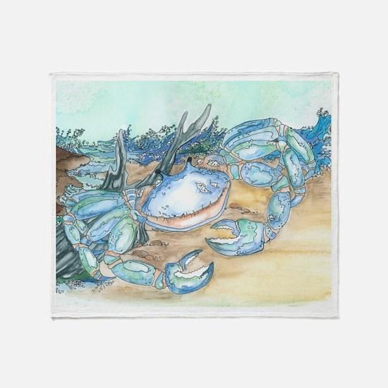 crab seaside beach throw Throw Blanket