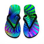 Psychedelic Rainbow Blue Hippie Pattern Flip Flops
