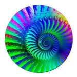 Psychedelic Rainbow Pattern Round Car Magnet